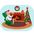 the little piggy celebrates christmas at home vector image