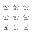 thin line modern house icon vector image vector image