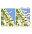 Tourist map with sea line streets marks vector image vector image
