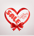 valentines day sale card frame with red ribbon vector image
