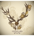 Vintage floral background with a deer skull vector image vector image