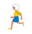 walking or running blonde woman flat vector image