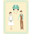 wedding couple and car vector image vector image