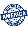 welcome to america blue stamp vector image vector image