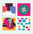 set with square bright cards drawn in graphic vector image