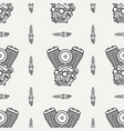 line seamless pattern motorcycle classic vector image
