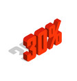 30 percent off sale red isometric object 3d vector image