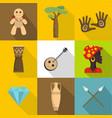 africa land icons set flat style vector image