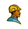 african american construction worker mascot vector image vector image