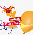 april fools day - number golden balloon hat vector image vector image