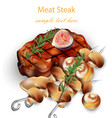 beef steak and mushrooms realistic 3d vector image vector image