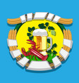 beer mug with wreath hops rye and boiled vector image vector image