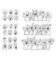 black and white happy people set vector image vector image
