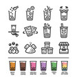 bubble tea icon set vector image vector image