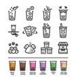 bubble tea icon set vector image