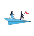 businessman and woman with flag on paper plane vector image vector image