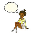 cartoon attractive woman sitting thinking with vector image vector image