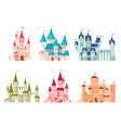 castles set medieval castle towers fairytale vector image