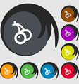 Cherry icon sign Symbols on eight colored buttons vector image vector image