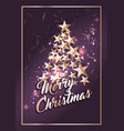 christmas poster or card template with stars tree vector image vector image