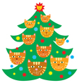 Christmas tree decorated with cats vector image vector image