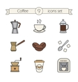 Coffee color icons set vector image vector image