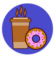coffee cup and donut icon vector image vector image