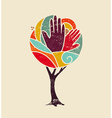 Color concept tree with diversity people hands vector image vector image