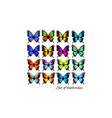 colorful butterflies set butterfly silhouette vector image