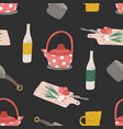 colorful seamless pattern with kitchen utensils vector image