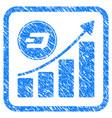dash growing chart framed stamp vector image vector image