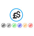 dollar and pound currency rounded icon vector image