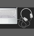 earphone and laptop vector image