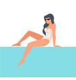 elegant lady sitting poolside stylish female vector image vector image