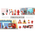 flat firefighting elements composition vector image vector image