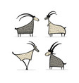 goats and rams collection for your design vector image vector image