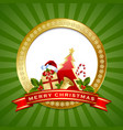 golden merry christmas plaque with tree present vector image