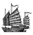 hand drawn design chinese junk boat vector image vector image