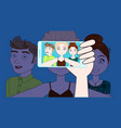 hand with smart phone take selfie photo of young vector image vector image