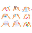 hands crafting kids knitted drawing vector image vector image