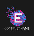 letter e logo with blue purple pink particles vector image vector image
