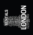 London rentals text background word cloud concept