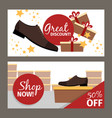 men shoes horizontal flyers for advertising vector image vector image