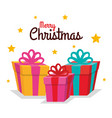 merry christmas colorful gift boxes fall stars vector image vector image