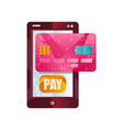 modern smartphone and credit card phone wallet vector image vector image