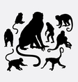 Monkey and ape animal silhouettes vector image vector image