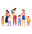 mothers and kids female friends with children vector image vector image