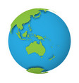 natural earth globe 3d world map with green lands vector image