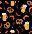oktoberfest pretzels beer sausage pattern vector image vector image