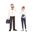 pair of clerks dressed in business clothes vector image